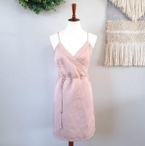 Cuyana   Linen Blend Wrap Dress - Quartz Pink
